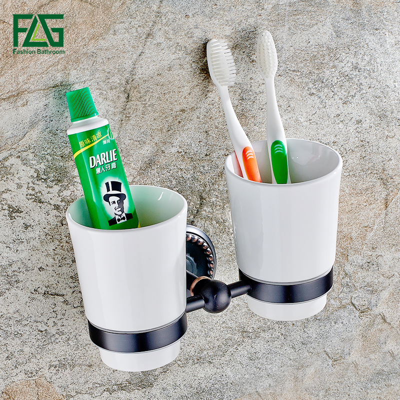 FLG Bathroom Accessories Wall Mounted Tumbler Holder Cup & Tumbler Holders Tumbler Toothbrush Holder Oil Rubbed Bronze 80104 leyden new brass oil rubbed bronze double toothbrush tumbler holder wall mounted toothbrush holder with cup bathroom accessories