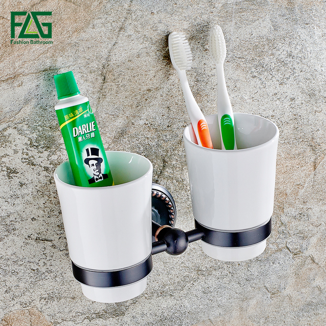 Flg Bathroom Accessories Wall Mounted Tumbler Holder Cup Holders Toothbrush Oil Rubbed