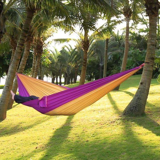 Portable Nylon Single Person Hammock Parachute Parachute Fabric Hammock For Travel Hiking Backpacking Camping Hammock 17 Colors