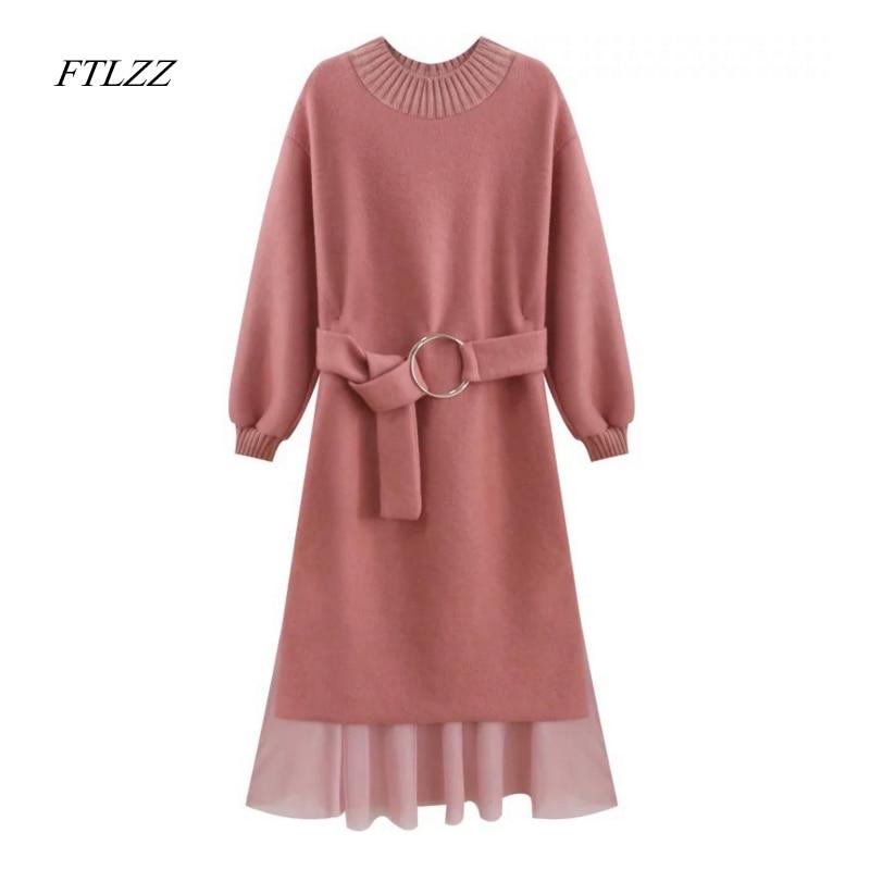 Ftlzz New Autumn Spring Women Sweater Knitted Dress Elegant Sweet Fashion Slim High Waist Belt Long Sleeve Knitting Long Dress the new muslim women s dress elegant chiffon pendant loose lined waist belt