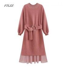 Ftlzz Новая осень весна Для женщин свитер вязаное платье элегантный Последняя Мода Тонкий Высокая талия пояс с длинным рукавом Вязание длинное платье