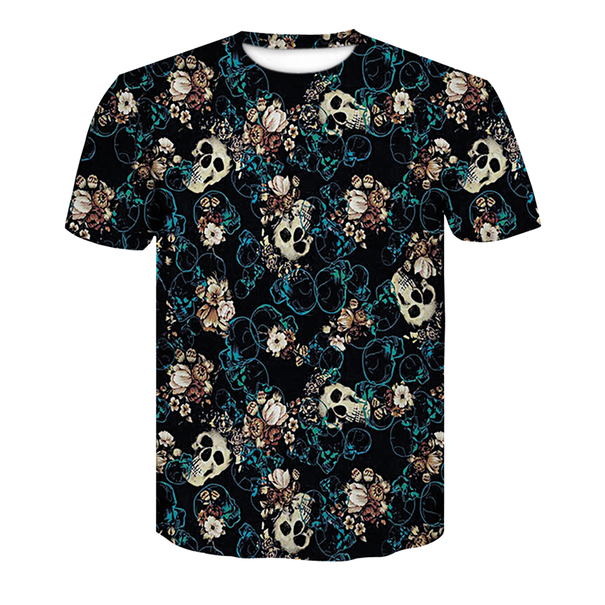 Men's T-shirt 3d Short-sleeved Funny Print Many Skull Flowers Round Neck T-shirt 2018 Summer Quick-dry Men's Casual Tops S-4XL