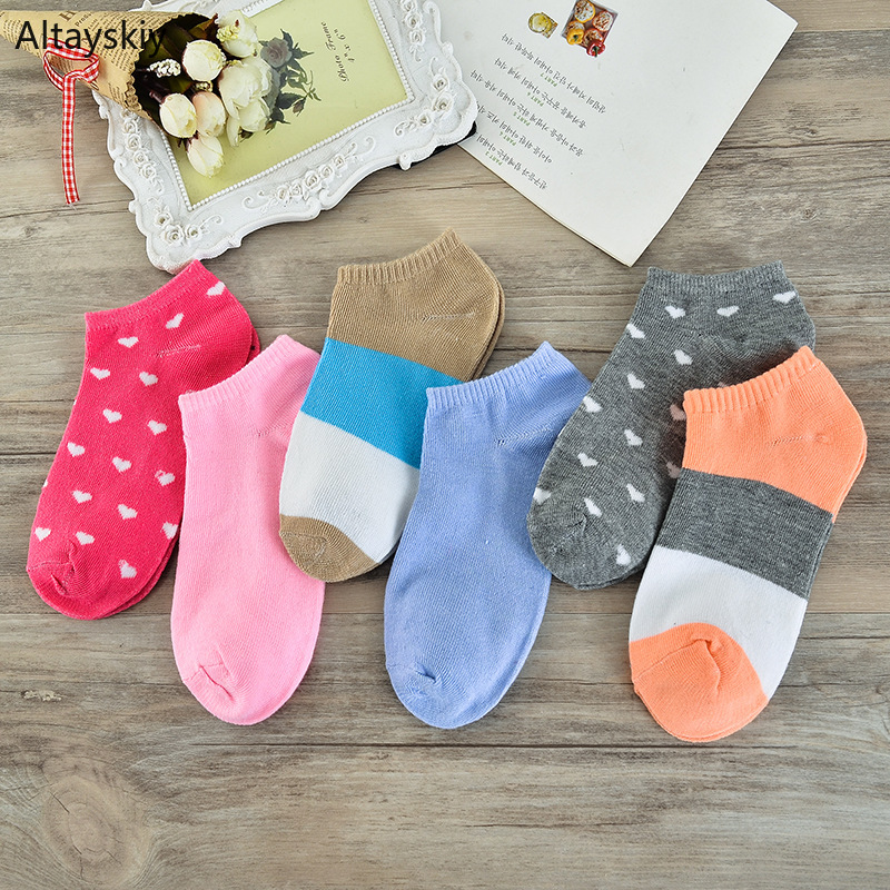 Socks Women Thin Breathable Soft Candy Color Short Sock Korean Style Sweet Leisure Simple High Elasticity All-match Womens Chic