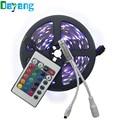 Non waterproof 5M 5050 RGB LED strip light 150LED/m LED tape rope+24 key remote controller Kit Free Shipping