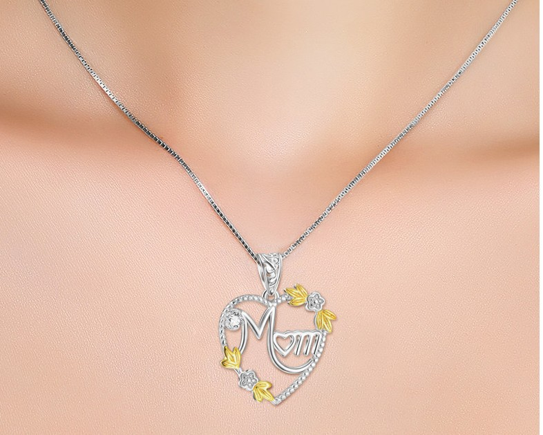 925 Sterling Silver Heart MOM Pendant Long Chain Statement Choker Necklace for Women Fashion Jewelry Best Mother's Day Gift 2019 5