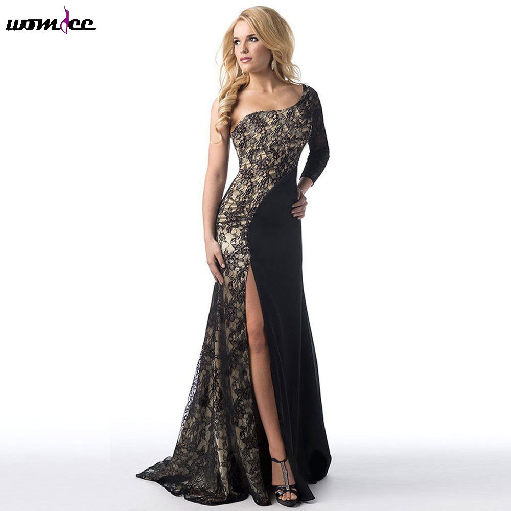 4XL Black White 2017 Spring Autumn Dresses One Shoulder Long Sleeve Lace Women Party Dress Evening