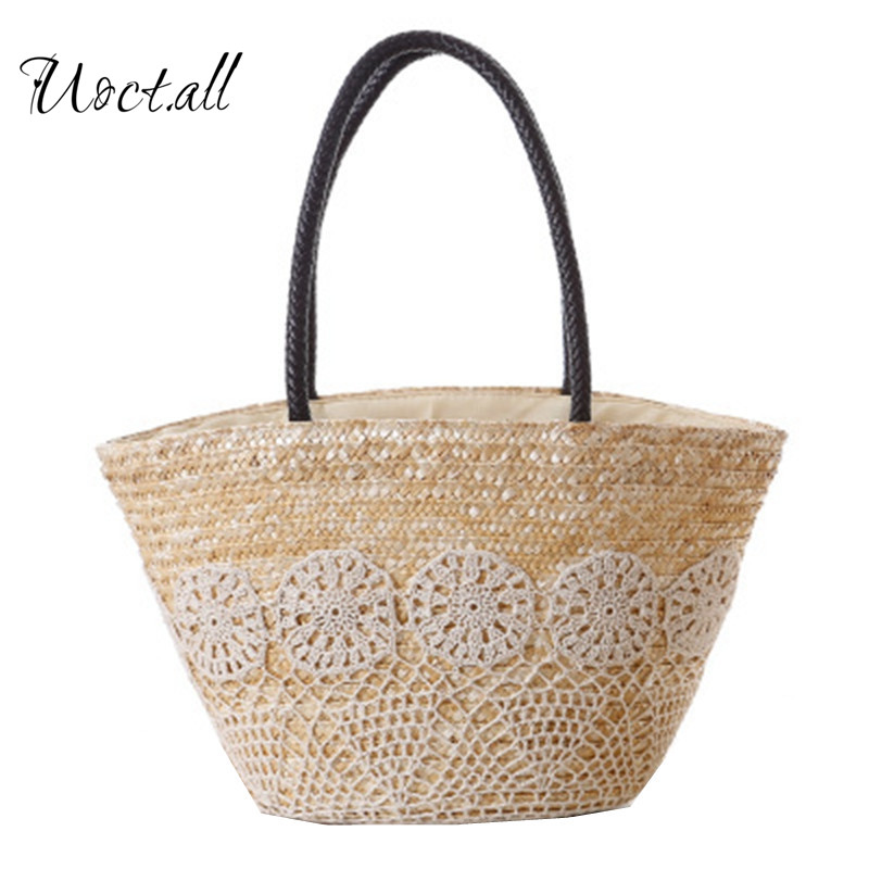 2018 High Quality Beach Bag Summer Big Straw Bags Handmade Woven Tote Women Travel Handbags Hook Flower Shopping Hand Bags ...