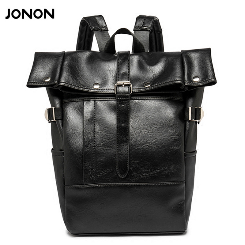 Jonon Simple Patchwork Large Capacity Mens Leather Backpack For Travel Casual Men Daypacks Leather Travle Backpack mochila