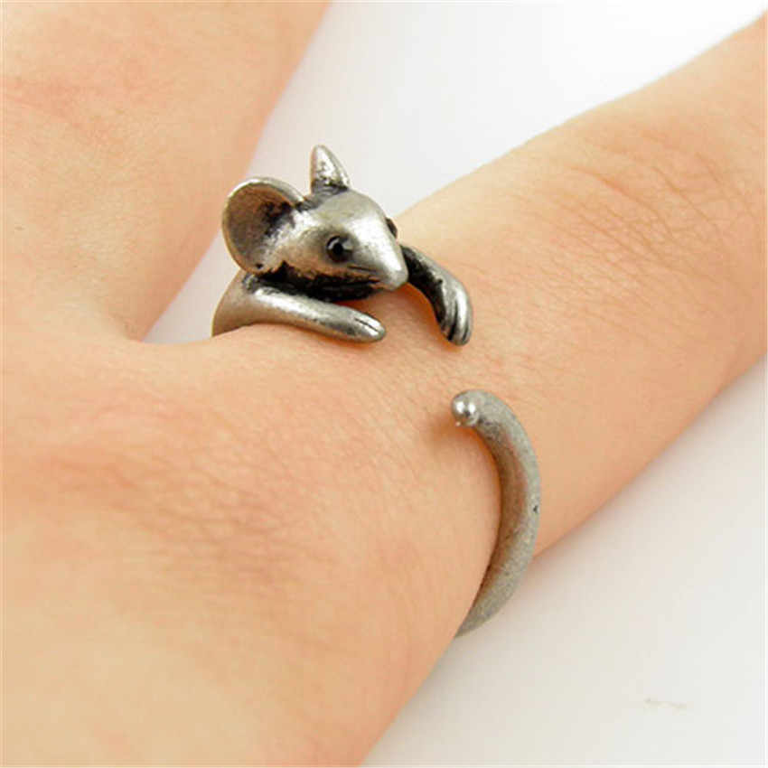 Chengxun boho chique vintage bronze junta ajustável mouse animal wrap capina anel senhoras moda jóias presente