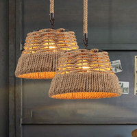 Rustic Rope chandelier Lamp For Bedroom Bar restaurant rattan lamp American Country Loft Industrial Decor wicker pendant lamp