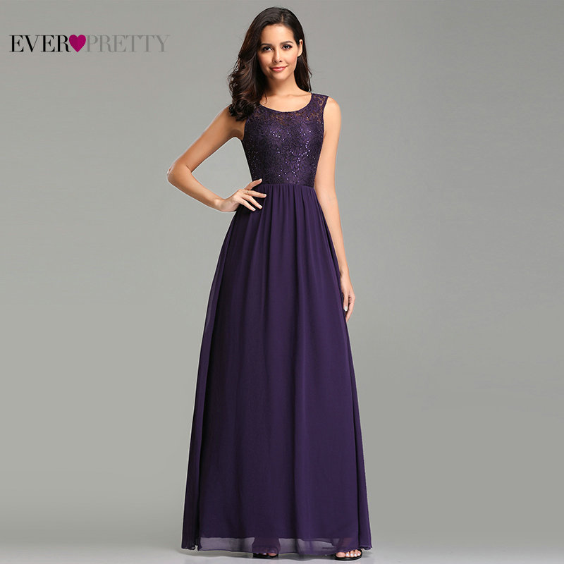 Ladies Evening Dresses 2020 Long Ever Pretty EZ07727DP Elegant Sequin A Line Chiffon Lace Formal Dress Wedding Party Gowns