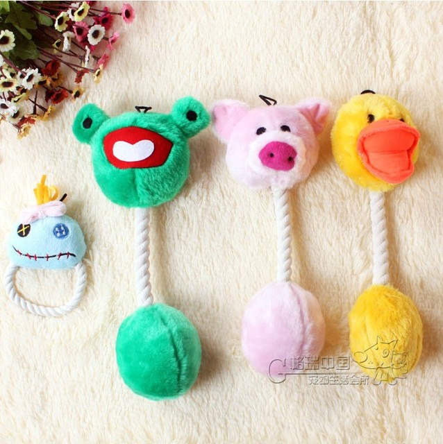 Free Shipping 3 styles frog duck pig toys pet dog teeth toy vocalization plush with rope sound toys dog chew rope squeak toy