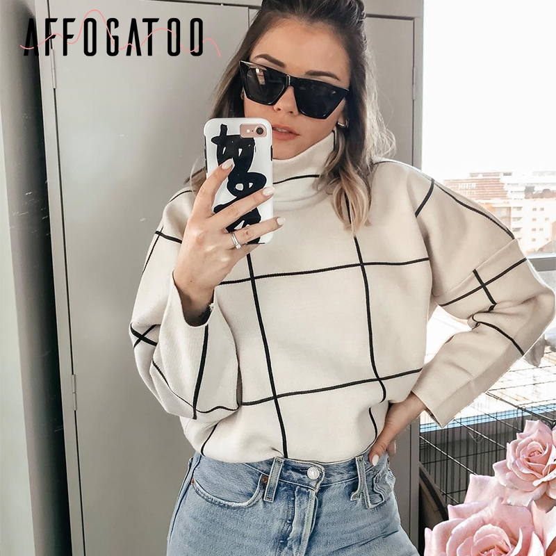 Affogatoo Elegant Plaid Turtleneck Women Knitted Sweaters Casual Office Ladies Outerwear Pullover Autumn Winter Female Jumpers