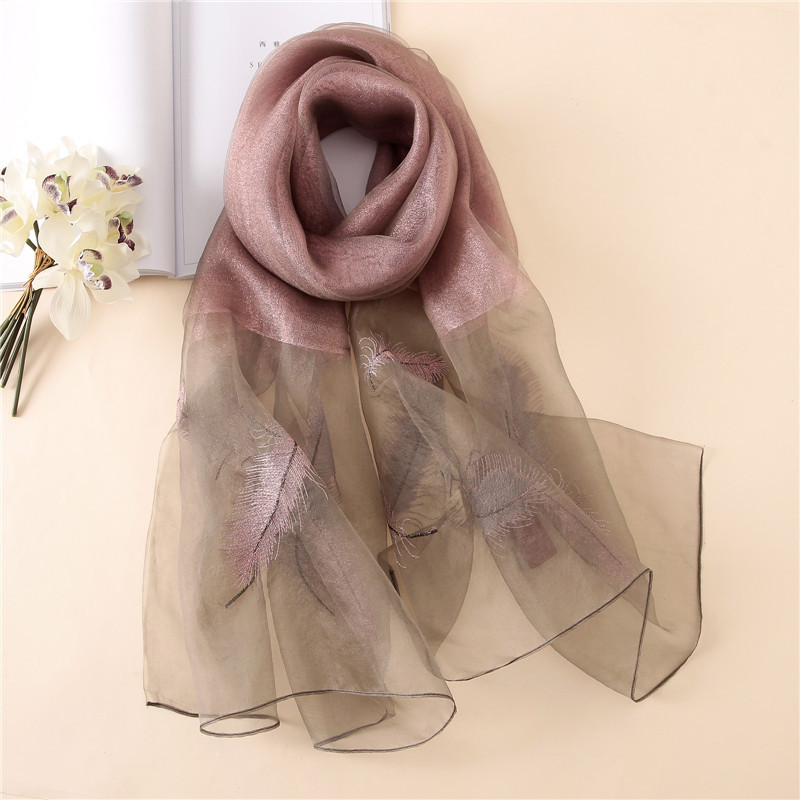 2018 Luxury Embroidery Feather Silk Wool   Scarf   For Women Shawls High Quality Girls Luxury Brand   Scarf     Wrap   Bandana Foulard Hijab