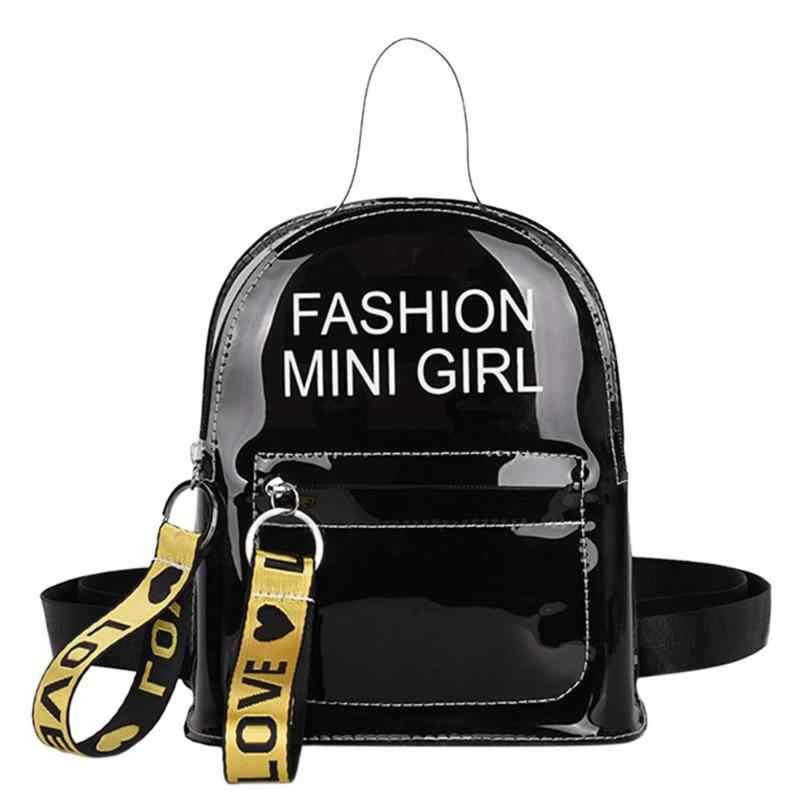 5e26cc989bc0 Прозрачный женский рюкзак из прозрачного ПВХ женский рюкзак для девочек-подростков  школьные сумки Пластик Для