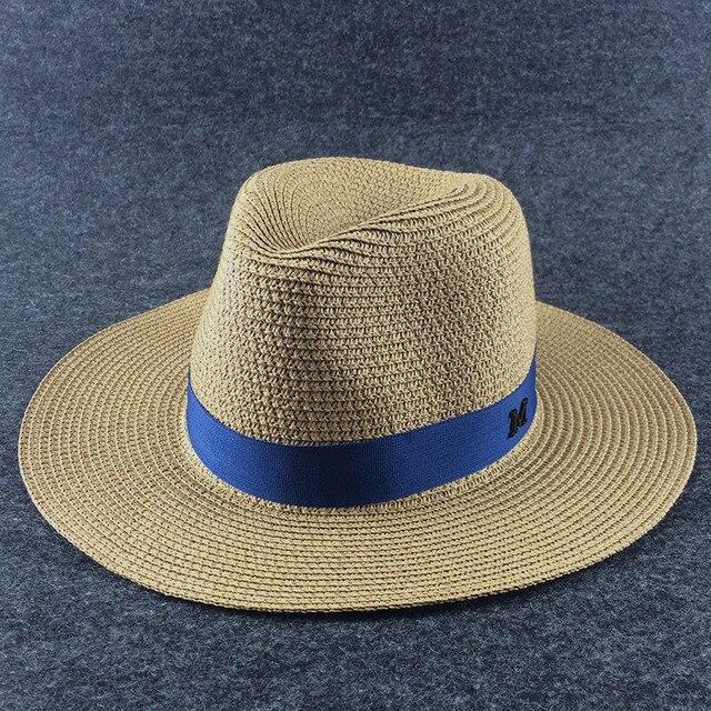 Wide Brim Sun Hat for Women Men Jazz Cap Panama Floppy Hat fedoras Summer  straw Hat Brief Blue Girdle Beach Hat 041c0a30d47
