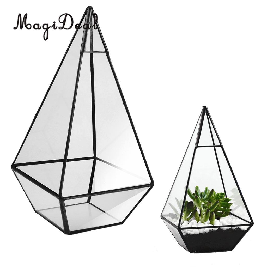 MagiDeal Glass Geometric Terrarium Box Pot Tabletop Succulent Planter Black 12 x 12 x 24cm