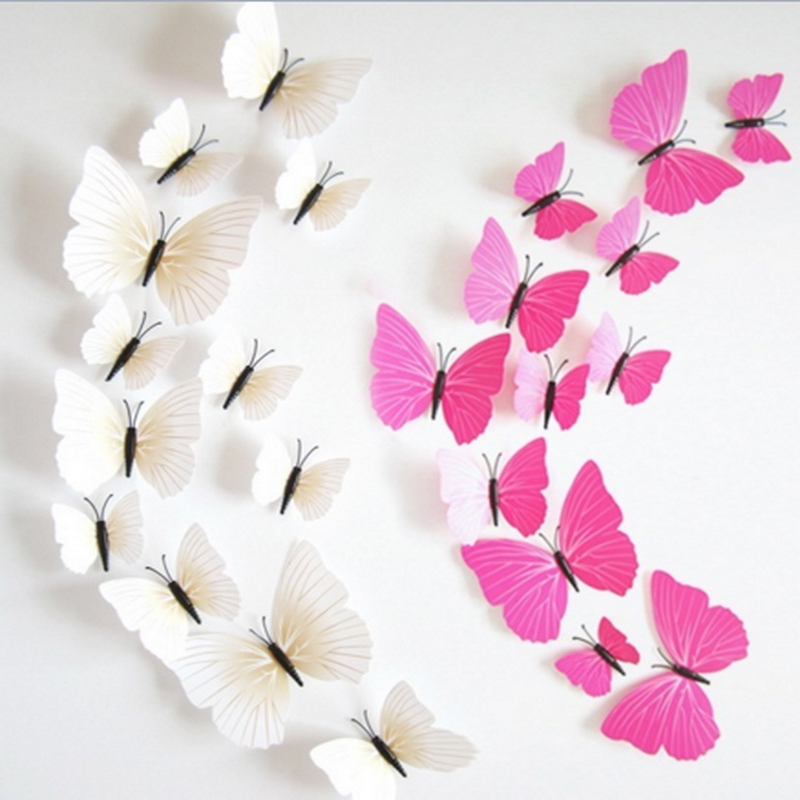 2017 New Style 12pcs Butterfly Decors For Home Fridage Party DIY Decoration Hot Sale