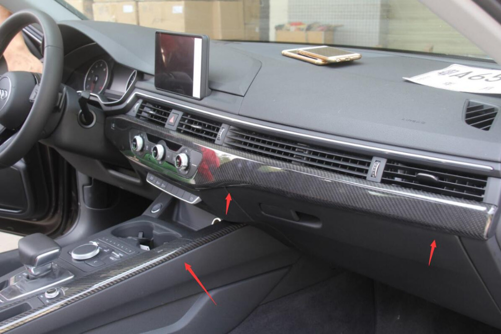 7pcsFor Audi A4 B9 2017 2018 Left Hand Driving Carbon Fiber Interior Moldings Central Control Panel