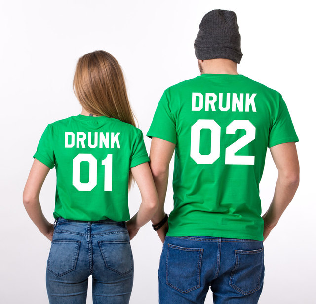 2918a40fe St Patricks day Irish Shirts Drunk 01 02 Letter Print cotton Funny tshirts  Couple for Lovers Best Gril friends Women Men Tshirt