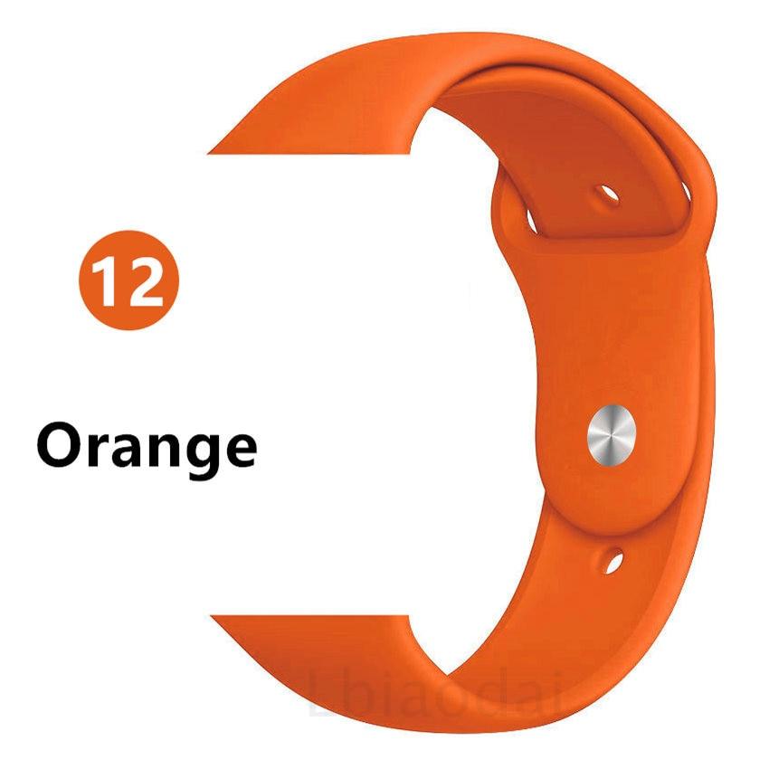 Ремешок для Apple Watch 38 мм 42 мм iWatch 4 ремешка 44 мм 40 мм спортивный силиконовый ремень браслет Apple watch 5 4 3 2 Аксессуары для ремешка - Цвет ремешка: Orange