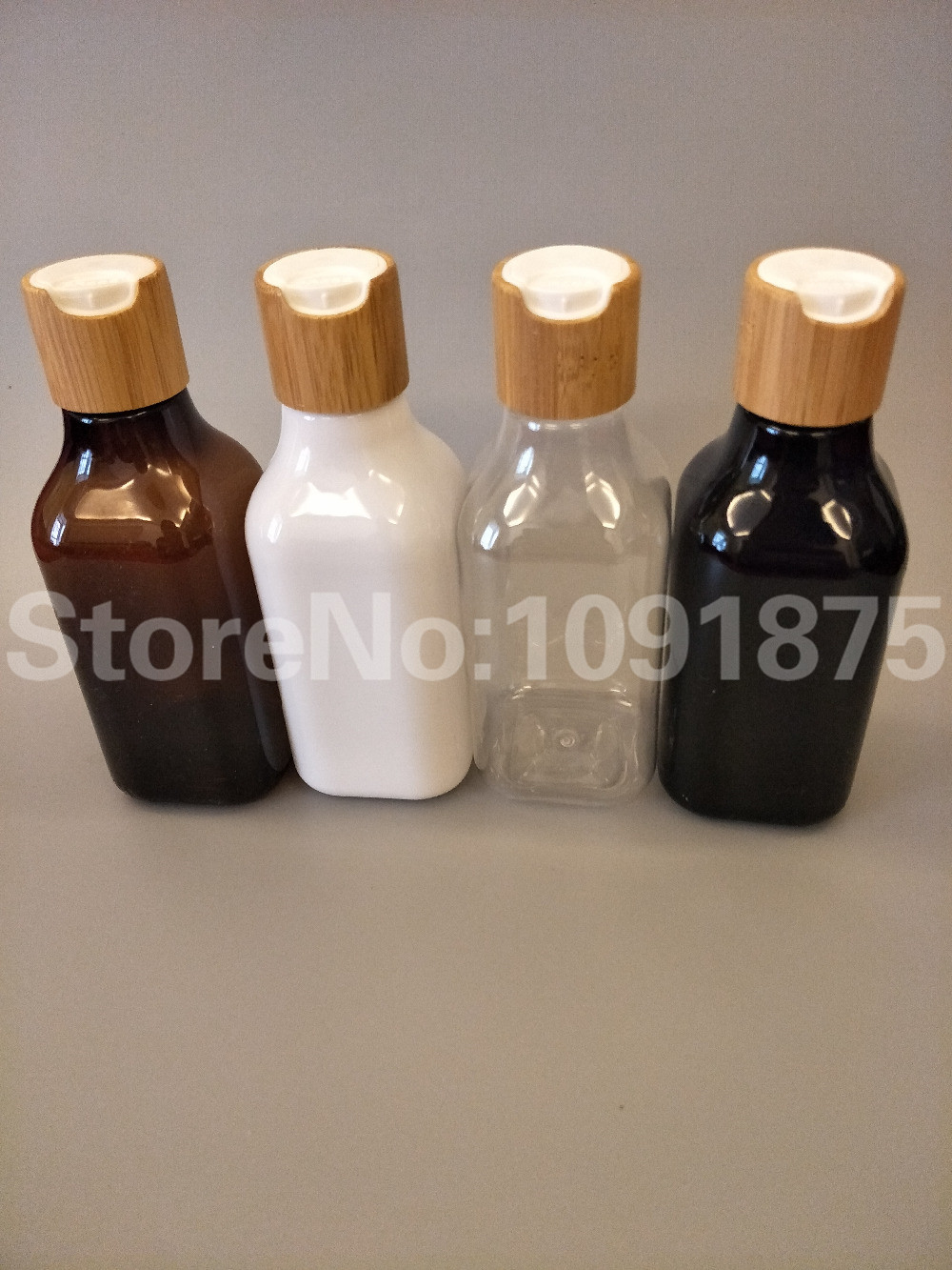 Free Shipping 10pcs/lot 200ml White Black Brown Clear Color PET Bottle With Bamboo Disc Top Cap For Cosmetic Package