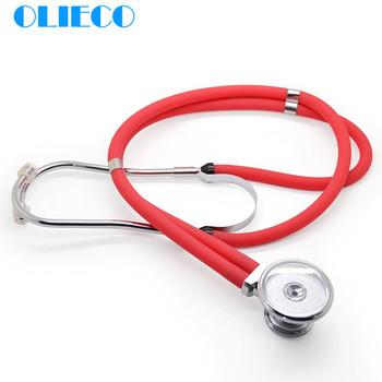 OLIECO przenośny stetoskop kolorowy podwójny stetoskop dwugłowicowy profesjonalny medyczny przyrząd do osłuchiwania stetoskop do użytku domowego tanie i dobre opinie KT102A Black Pink Red Blue Zinc Alloy Alumiaum Alloy 40mm 55cm 21 6in
