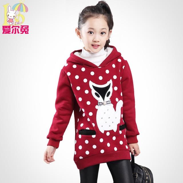 Children's clothing девочка осенью 2017 ребенок флис средней длины пуловер топ ребенок плюс бархат утолщение толстовка