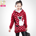 Children's clothing female child autumn 2017 child fleece medium-long pullover top child plus velvet thickening sweatshirt