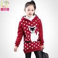 Niños clothing niña otoño 2017 vellón niño niño, además de terciopelo engrosamiento sudadera medio-largo suéter superior