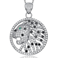 Aceworks S925 Sterling Silver Openwork Leopard Head Cubic Zircon Charms Jewelry Pendants for Women Zirconia Jewellery PT1311