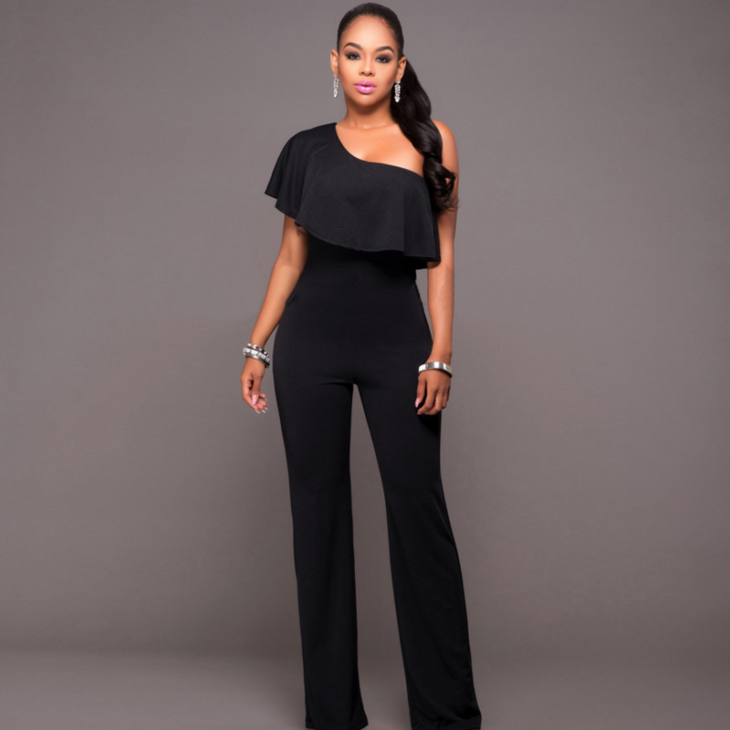2018 Summer Fashion Brand One Shoulder Long Pants Rompers Jumpsuit