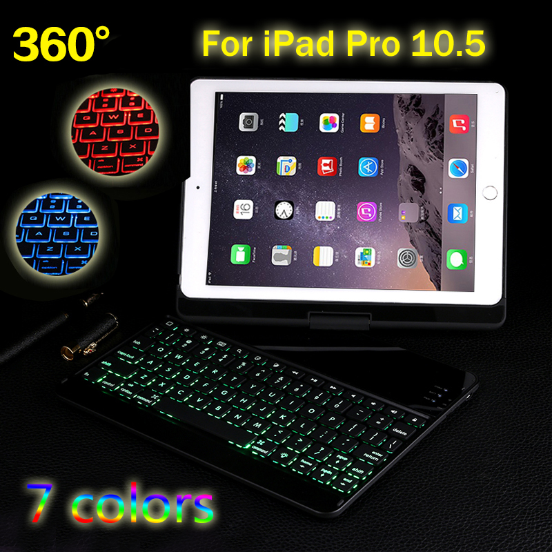 New 2017 Rotate 7 Colors Backlit Light Wireless Bluetooth Keyboard Case Cover For iPad Pro 10.5 + Gift
