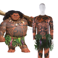 Moana Cosplay Costume Maui Spandex Costume Halloween Suit Movie Costume Adult Men Party Shirt Custom Made