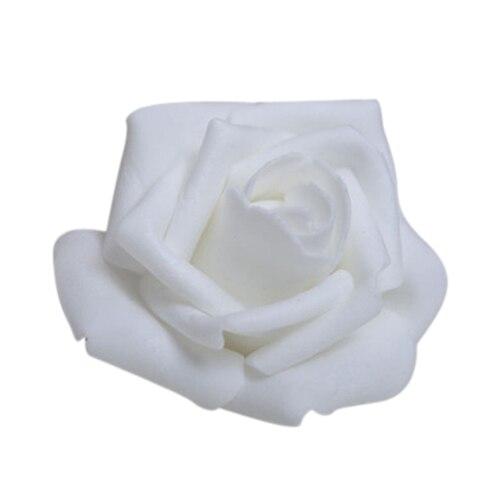 100 PCS Mousse Rose Fleur Bourgeon De Mariage Parti Décorations Fleur Artificielle Bricolage Artisanat Blanc