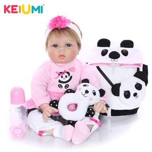 KEIUMI 22 Inch 55 cm Panda Reborn Doll Soft Silicone Vinyl Girl Toy Lifelike Reborn Baby Doll Cloth Body For Kids Christmas Gift