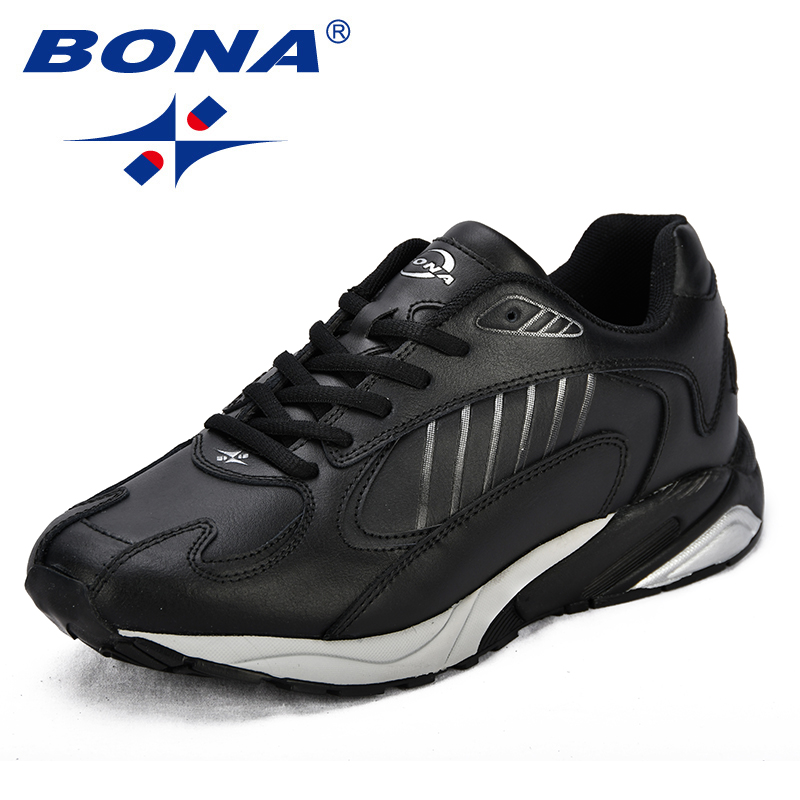 BONA New Classics Style Men Running Shoes Split Leather Men Athletic Shoes Outdoor Jogging Shoes Comfortable Sneakers