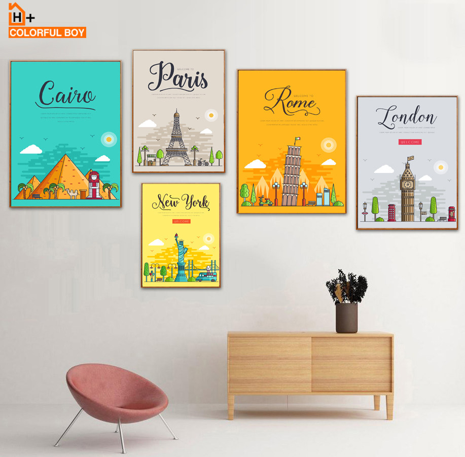 Online Shop The Morning of City London New York Vintage Poster ...
