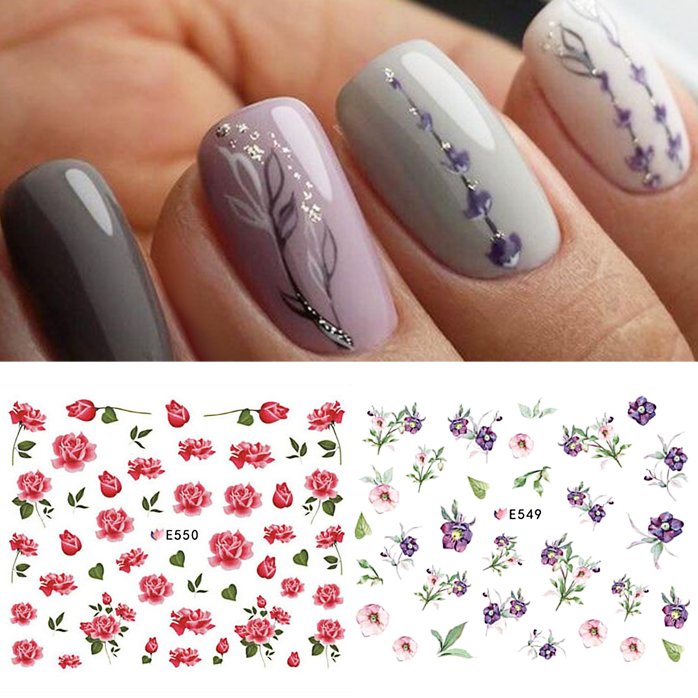 1 Sheet Flowers Nail Art Stickers Ultra Thin 3d Nail Sticker Floral Slider Tips Flower Nail Decals Blooming Decor Lae549 555 Aliexpress
