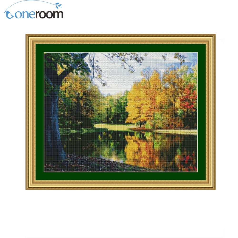 2TH 59-47 river in woods chinese Stitch DIY 14CT similar DMC Cross Stitch,Sets For Embroidery Kits Counted Cross-Stitching