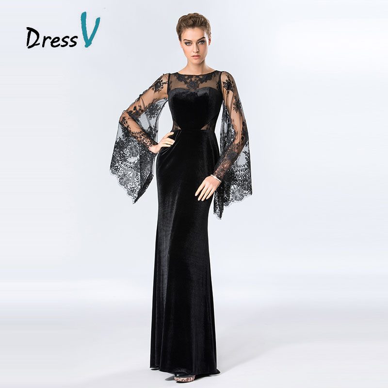 Dressv Vintage Lace Muslim   Evening     Dresses   Sheath O-neck Long Sleeves Formal party   dresses   black sexy long   evening     dress