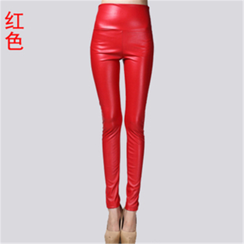 Big yards and velvet PU color imitation leather font b leggings b font tall waist leather