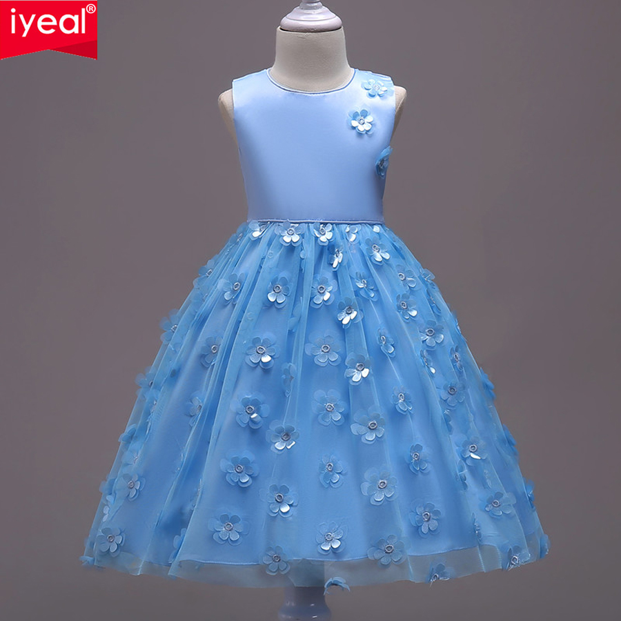 IYEAL Girl Flower Dress For Wedding Party Elegant Christening Gown Princess Dresses Floral Kids Evening Prom Clothes 3-8 Years girls dress 2017 new summer flower kids party dresses for wedding children s princess girl evening prom toddler beading clothes page 3