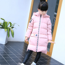 Girls Cold Winter Duck Down Jacket Boy Warm Fur Down Coat Children Casual Hooded Outerwear Russia
