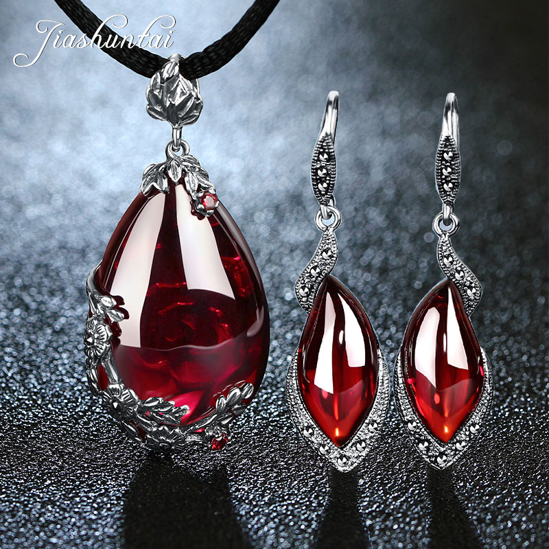 JIASHUNTAI Retro 100 925 Sterling Silver Garnet Pendant Necklace Gemstone Drop Earrings For Women Jewelry Sets