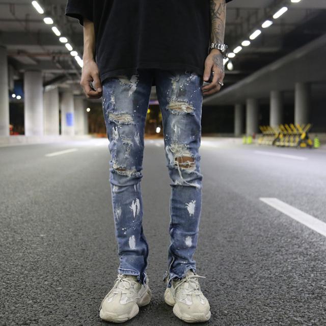 Bottom Zipper Destroyed Jeans Skinny Jeans Ripped Slim Mens Biker Jeans Fashion Graffiti Printed Streetwear Hip Hop Pants Jogger