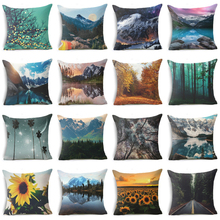 Elife Cotton linen Plant Cushion Cover flower Pillow Case Forest Ocean Scenery For Sofa Car Bedroom waist Home Decor 45*45cm