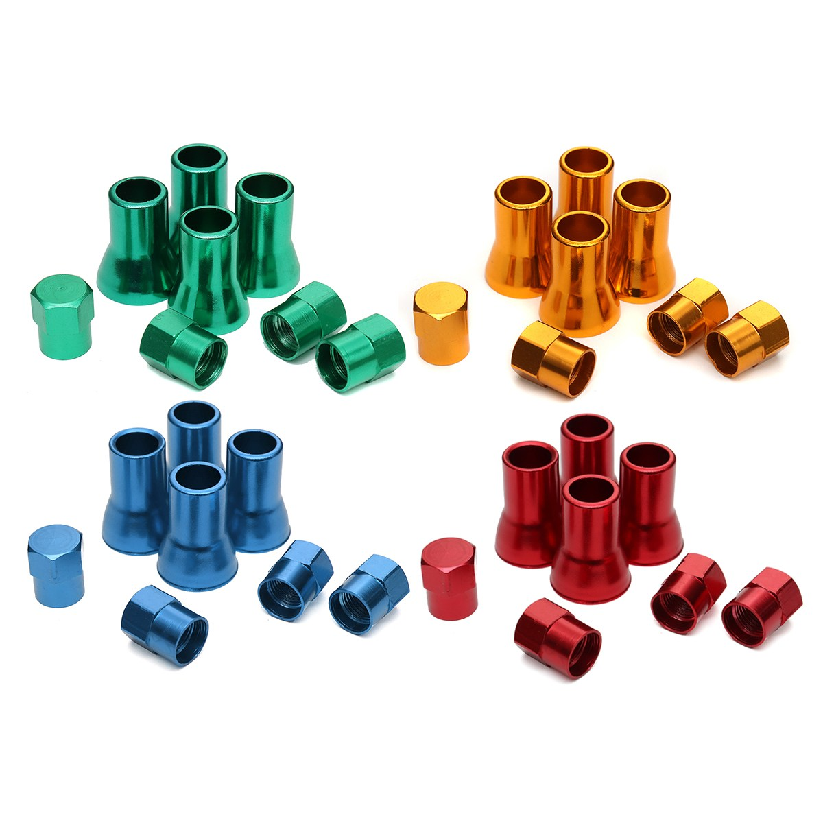 8pcs TR413 Aluminium Alloy Wheel Tyre Tire Cover Valve Stem Sleeves  With Hex Caps Red Yellow Blue Green Left Right Front Rear