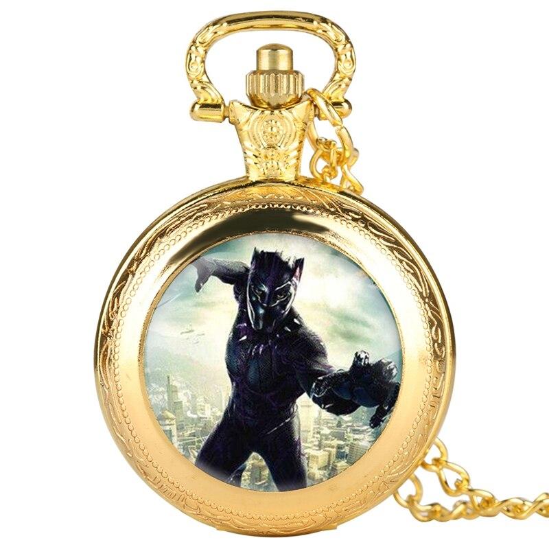 Black Panther Men Pocket Watch Rome Scale Quartz Pocket Watch Necklace Chain Retro Gifts Pendant Clock Collectibles 2019