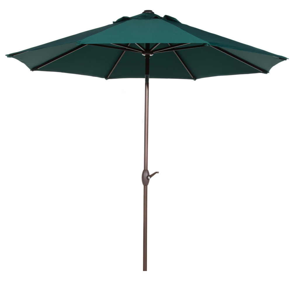 Abba Patio 9 Ft Outdoor Table Aluminum Patio Umbrella With Auto Tilt And  Crank 8 Ribs Dark Green